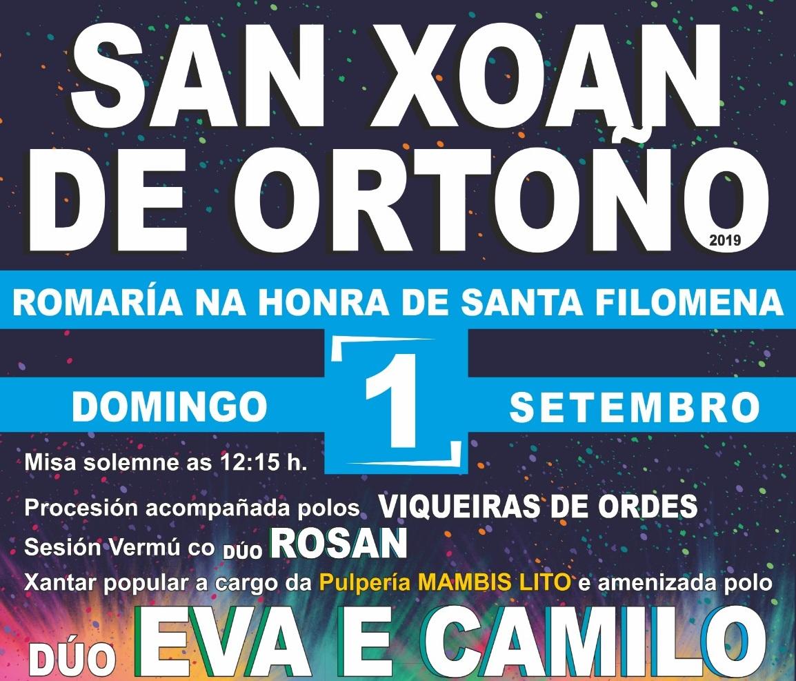 Cartel da romaría na honra de Santa Filomena