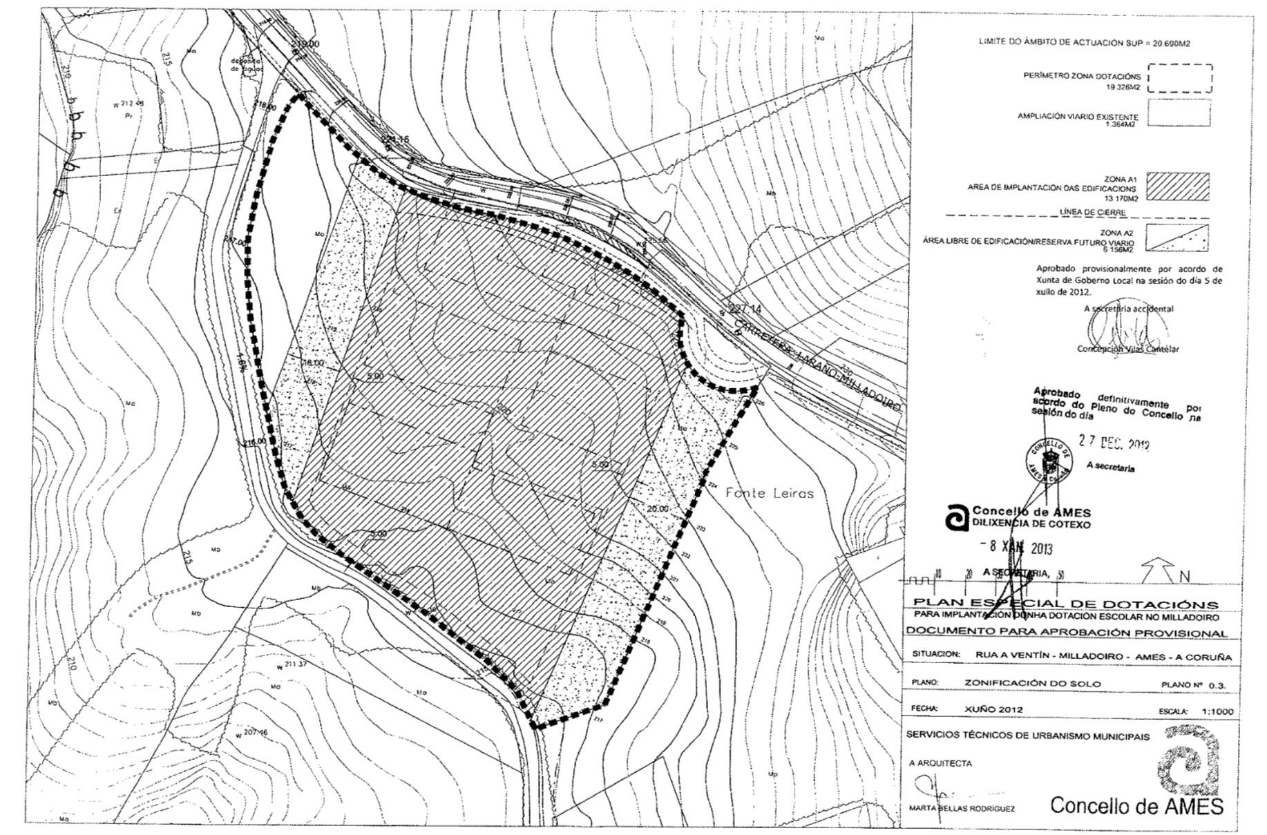Plano da parcela onde se construirá o novo CEIP do Milladoiro