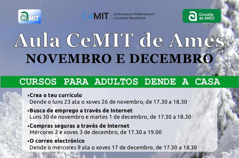 A Aula CeMIT continúa en novembro e decembro con clases telemáticas para nenos e adultos