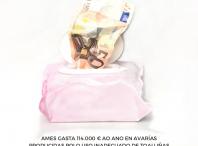 Cartel da campaña Tirar toalliñas ao WC PASA [á] FACTURA. As toalliñas á PAPELEIRA!