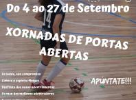 Cartel das xornadas de portas abertas do FC Meigas