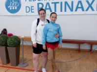 Imaxe da patinadora amesá Antía Lourido Villasenín coa súa adestradora
