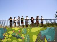 Mural das participantes do Obradoiro de introducción ao muralismo