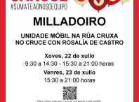 A unidade móbil de doazón de sangue estará este xoves 22 e venres 23 de xullo no Milladoiro