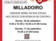 A unidade móbil de doazón de sangue estará este luns e martes 16 e 17 de setembro no Milladoiro