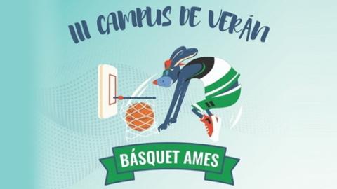 Cartel do campus de verán Basquet Ames