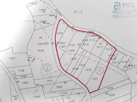 Mapa dos terreos para o novo CEIP do Milladoiro