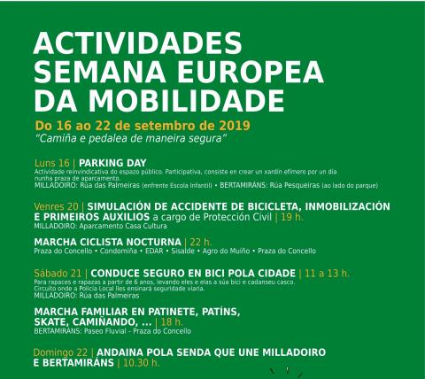 Programa de actividades da Semana Europea da Mobilidade
