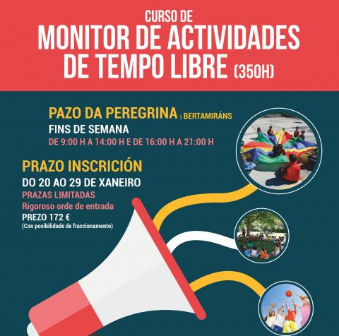 Cartel do curso de monitor/a de actividades de tempo libre do Concello de Ames