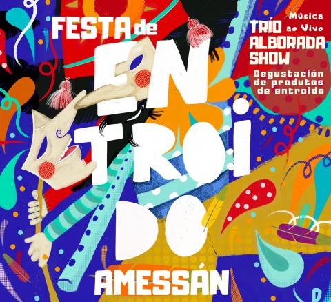 Cartel da festa de entroido do programa Amessan