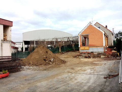 Imaxe das obras de construción do novo comedor do CEIP da Maía