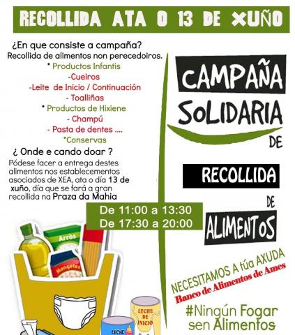 cartel campaña solidaria recollida de alimentos