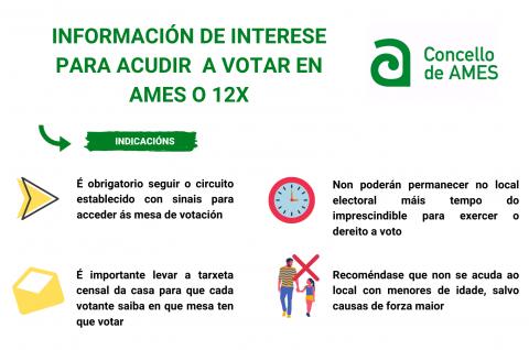Información de interese para acudir a votar en Ames o 12 de xullo