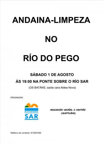 Cartaz que anuncia a andaina limpeza no Río do Pego