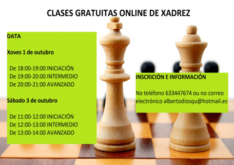 Anímase á veciñanza a participar nas clases online de xadrez o xoves 1 e o sábado 3 de outubro