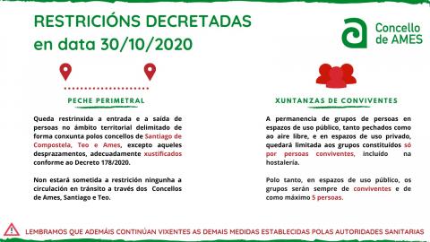 Cartel coas medidas aprobadas o 30 de outubro de 2020