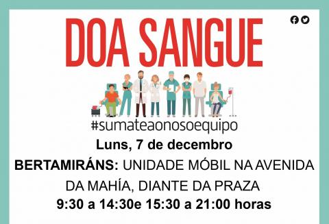 A unidade móbil de doazón de sangue estará o luns 7 de decembro en Bertamiráns